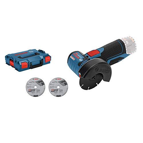 Bosch Professional 06019F2003 12V System Meuleuse Angulaire sans-fil GWS 12V-76 (3 Disques à Tronçonner, Diamètre de Disque : 76 mm, sans Batteries ni Chargeur, dans une L-BOXX) Bleu