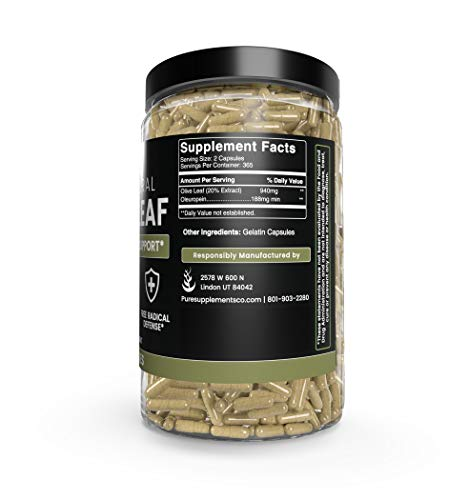 Olive Leaf, 1 Year Supply, 730 Capsules, 940mg, No Magnesium or Rice Filler, Non-GMO, Antioxidant, Gluten-Free, 20% Oleuropein, Made in USA, Undiluted Olive Leaf with No Additives 8