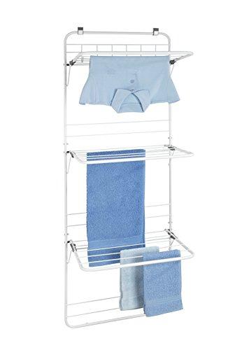 WENKO Über-Tür Wäschetrockner - Wäscheständer zum Hängen, pulverbeschichtetes Metall, 51 x 142 x 41 cm, Weiß