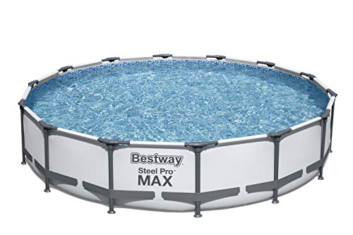 Bestway 56597E Pro MAX Above Ground, 14ft x 33in | Steel Frame Round Pool Set | No Tools Required, 14-Feet by 33-inch, Grey