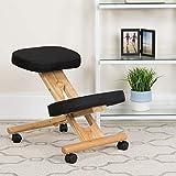 EMMA + OLIVER Mobile Wooden Ergonomic Kneeling Office Chair in Black Fabric