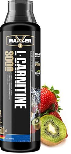 Maxler Veganes L-Carnitine 3000 Liquid - Hochdosiertes Diätetisches Getränk beliebt in Fettverbrennung-Diät, Definitionsphase - 3000mg von L-Carnitin pro Portion - Erdbeere-Kiwi - 500ml