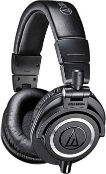 Audio-Technica ATH-M50x Professional Studio Monitor Headphones, Black, Professional Grade, Critically Acclaimed, With Detachable Cable