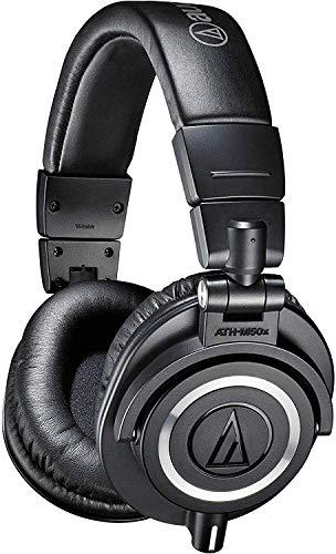 Audio Technica ATH-M50X Cuffie professionali per il monitoraggio, 3 cavi inclusi, Nero