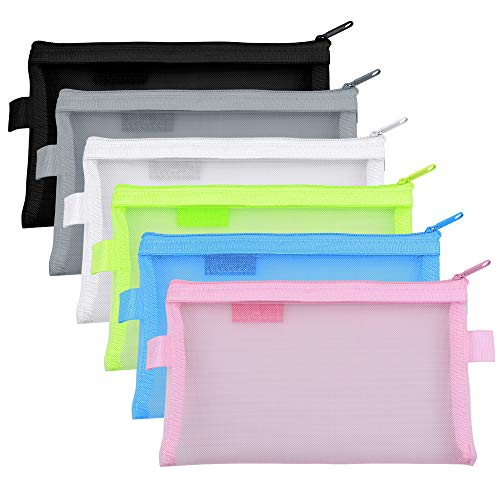 Meetory 6 pezzi Zip Mesh Zipper Pouches Pencil Case multiuso Organizer Storage Bags per viaggi...