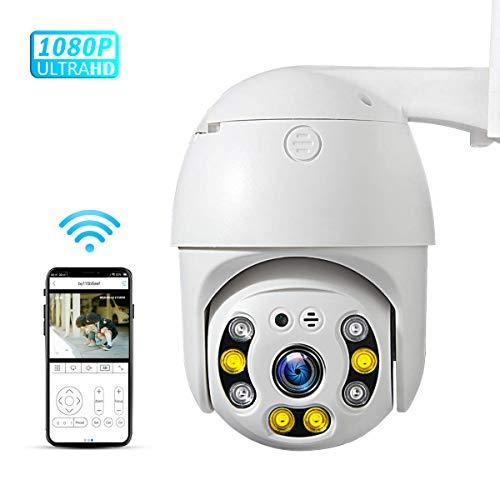PTZ Camera wifi 1080P, IP Camera 355° Pan/90° Tilt, Sensore di Movimento, Interfono Vocale Bidirezionale, 30M Visione Notturna, IP66 Impermeabile, Allarme AI