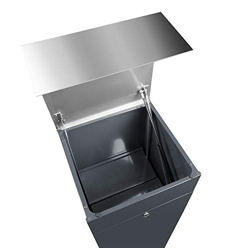 Frabox® Design Paketkasten NAMUR anthrazitgrau RAL 7016 / Edelstahl mit Hausnummer & Namen - 5