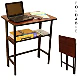 Anexo Metal Folding Computer Table for Laptop Study Office Foldable Desk (Walnut)