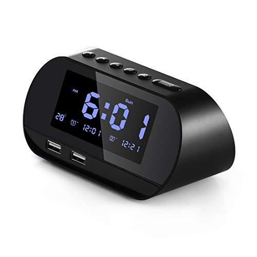 Aitsite Radiowecker, Digitaler FM Radiowecker mit Zwei USB Ladeanschlüssen, Funkradiowecker Dual Alarm, 5 Alarmtöne, 10 mins Snooze, 6 Helligkeit, Temperaturanzeige, 12/24 Stunden