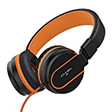 AILIHEN I35 Kid Headphones with Microphone Volume Limited Children Girls Boys Teen Lightweight Foldable Portable Wired Headset for School Airplane Travel Cellphones Tablets Smartphones (Black/Orange)