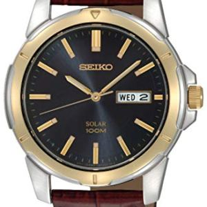 Seiko Men's SNE102 Stainless Steel Solar Watch with Brown Leather Strap, Multicolor dial 29