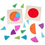DIYARTS Professionelle kreisförmige Fraktion Board Regenbogen Puzzle Mathe Material Holz Spielzeug 12 Farbe kodiert Zählen & Mathe Spielzeug für Vorschulkinder Kinder Mathe Bildung und Lernen