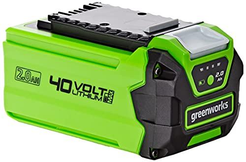 Greenworks Batteria G40B2 sistema di ricarica rapida Li-Ion 40V 2Ah senza autoscarica adatto a tutti i dispositivi e le batterie della serie Greenworks Tools 40V)