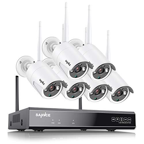 SANNCE Kit Videosorveglianza 1080P 6 Telecamere Wireless senza fili WIFI NVR per 4 telecamere APP Allarme Email Sistema di Sicurezza Hard Disk 1TB