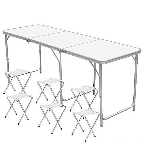 Nestling® Garten im Freien Aluminium tragbare Klapp Camping Picknick Party Feld Küche BBQ Tisch Extra Stärke Portable Indoor Outdoor,Höhenverstellbar (1.8M Table(mit 6 hockern))