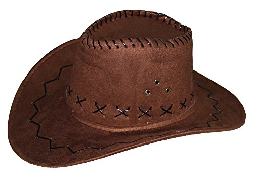 Cowboy Hut für Erwachsene in brauener Leder-Optik - Ideal für Männer und Frauen an Karneval Fasching Party Cowgirl Cowboyhut Damen Western Filz