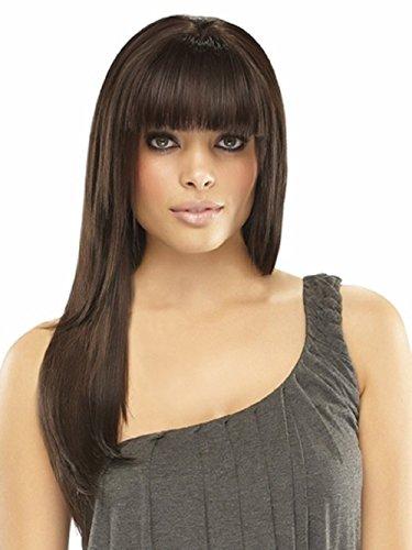 EasiFringe Clip In Bangs Color 8RN Medium Gold Brown - Easihair Renau Wigs Remy Human Hair Monofilament Base Hairpiece 1 pc Face Framing Fringe 4