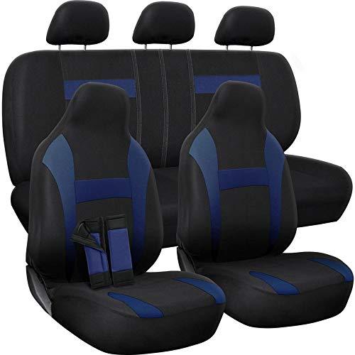 Motorup America Auto Seat Cover Full Set - Fits Select Vehicles Car Truck Van SUV - Newly Designed Mesh - Blue