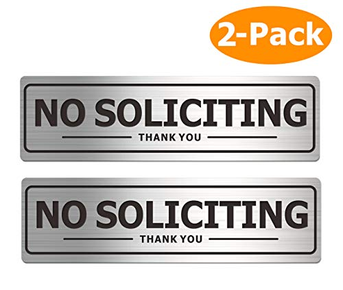 No Soliciting Sign - Door Signs for House Business and Office Wall - Aluminum Metal with Strong Self Adhesive (2 Pack, Silver 72 inches)