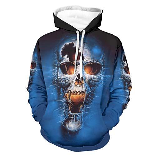 Unisex Blu sfondo cranio Felpa Hip-Hop - Sciolto Camicetta bianca L