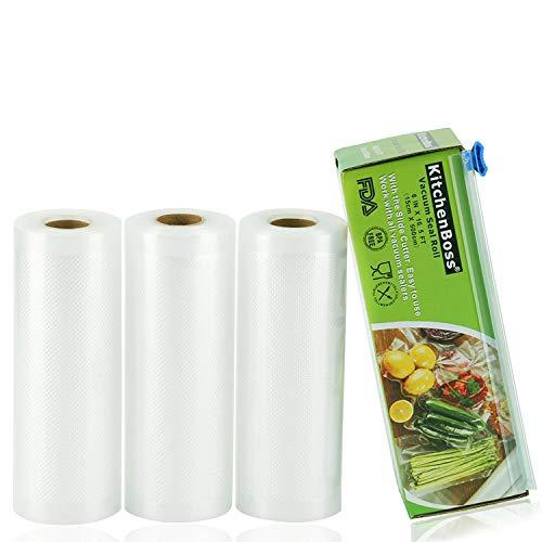 KitchenBoss Sacchetti Sottovuoto per Alimenti,4 Pezzi da 28x500 cm,20 M, Rotoli Sacchetti goffrati,per Conservazione Alimenti e Cottura Sous Vide