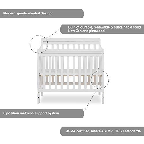 Product Image 4: Dream On Me Aden 4-in-1 Convertible Mini Crib in White, Greenguard Gold Certified