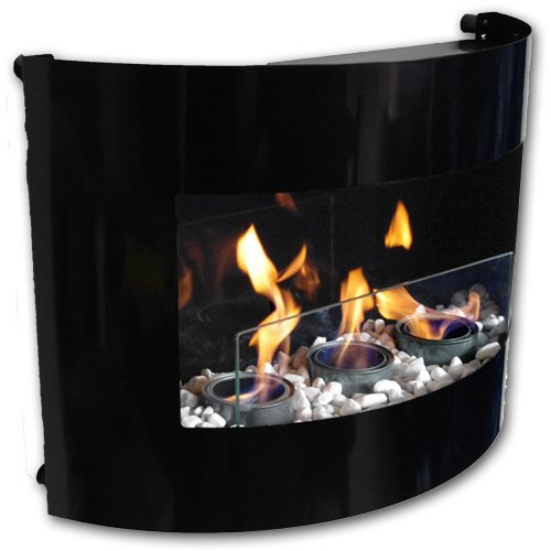 Design Fireplace RIVIERA Bio Ethanol Gel Fire Place with Safety Glass and Decorative Stones (Black)