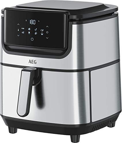 AEG AF6-1-6ST Heißluftfritteuse (Frittieren, Grillen, Braten, Backen ohne/wenig Öl, 8 voreingestellte Programme, XXL Fassungsvermögen, spülmaschinenfest, LED Touch-Display, programmierbar, Edelstahl)