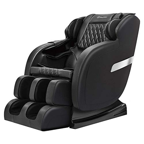 Real Relax Full Body Massage Chair Recliner with Yoga Stretch, Rocking Function, Bluetooth, Black