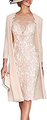 Mother Of The Bride Dresses for Women with Jacket Lace Chiffon Tea Length Two Pieces Plus Size Mother Of The Groom Dresses for Women Formal Dress Feature:Women's Mother of The Groom Dresses with Jacket 3/4 Sleeves,Lace up Back,Appliques,Beaded,Mother...