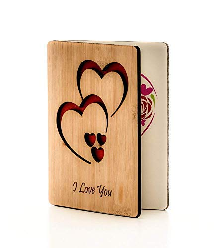 Real Bamboo Happy Valentines Day Card; Perfect Valentines Gift For Wife, Husband, Girlfriend, Boyfriend, Him or Her; Good For Any Occasion like Anniversary Card; Mothers Day Card; Fathers Day Card