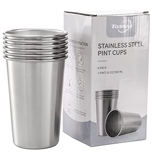 Tosnail 6 Pack 16 oz Stainless Steel Pint Cups Metal Cups...