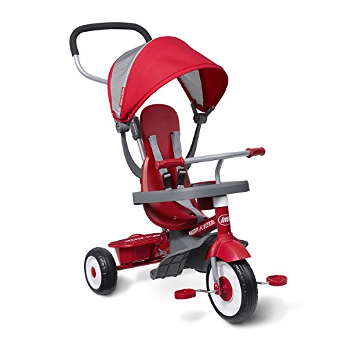 Radio Flyer 4-in-1 Stroll 'N Trike, Red Toddler Tricycle for Ages 9 Months -5 Years