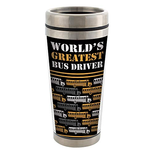 Bus Driver Pattern Stainless Steel 16 oz Travel Mug with Lid