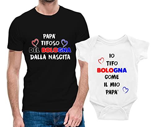 Puzzletee Coppia Tshirt e Body Padre e Figlio - pap Tifoso del Cagliari dalla Nascita - Io Tifo Cagliari Come Il Mio pap - Coppia Maglietta e Body Padre Figlio - Idea Regalo Padre e Figlio
