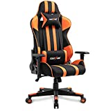 TIANSHU Gaming Chair High Back Computer Game Chair Office Chair PP Fabric & PU Leather Racing Chair PC Ergonomic Chair with Headrest and Lumbar Pillow Adjustable Swivel Chair E-Sports Chair, Orange