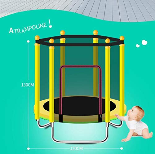 JIYU Mini Foldable Fitness Trampoline Handle for Children/Toddler Rebounder Trampoline with Fence,Max Load 250kg with Adjustable Handrail for Indoor Garden Workout Cardio Exercise Blue 7