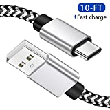 10FT USB C Cable for Samsung Galaxy S9, Charger Cable Fast Charging Cord, Extra Long Nylon Braided USB Type C Cable for Galaxy S10 S10E S8 Plus Note10 9 8,Moto Z, Google Pixel, LG V40 G8 G7