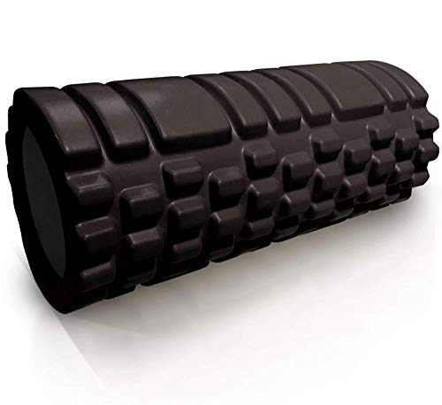 House of Quirk Bumpy Foam Roller, Solid Core EVA Foam Roller with Grid/Bump Texture for Deep Tissue Massage and Self-Myofascial Release - Black