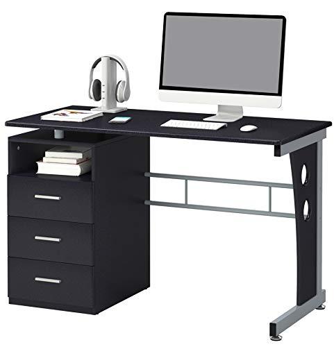 SixBros. Schreibtisch mit 3 Schubladen, Bürotisch in schwarz, Büro & Home Office, 120 x 58 cm S-352/2072