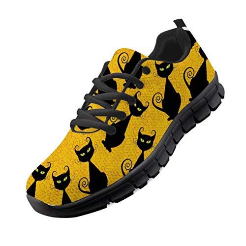Chaqlin Zapatillas con Estampado de Gato Negro Zapatillas de Deporte para Hombres y Mujeres Zapatillas de Gimnasia Zapatillas Deportivas Ligeras para Correr EU38