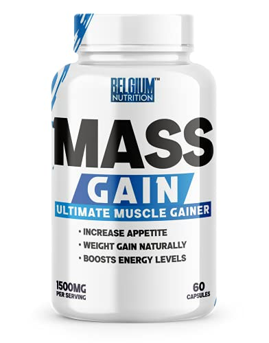 BELGIUM NUTRITION MASS GAIN capsules for Bulk Gain & Weight Gainerfor Fast Weight & Muscle Gain, Supplement for Muscle Growth, Stamina & Strength For Men & women - 60 Cap.