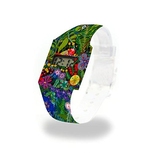 WILD FLOWERS - Pappwatch - Paperlike Watch - Digitale Armbanduhr im trendigen Design - aus absolut reissfestem und wasserabweisenden Tyvek® - Made in Germany, absolut reißfest und wasserabweisend