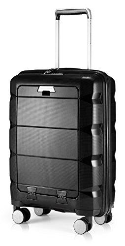 HAUPTSTADTKOFFER - Britz - Handgepäck mit Laptopfach Hartschalen-Koffer Trolley Rollkoffer Reisekoffer, TSA, 4 Rollen, 55 cm, 34 Liter, Schwarz