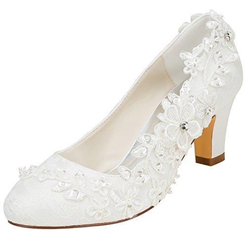 Emily Bridal Brautschuhe Frauen Seide wie Satin Stämmiger Absatz Absatzschuhe mit Stich Spitzen Blume Kristall Perle, Elfenbein, 39 EU (6 UK)