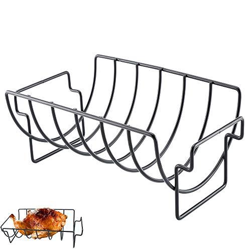 Ritte Porta Costolette BBQ, Supporto per Arrosto Bistecca, Supporto per Costolette Barbecue in Metallo Antiaderente Multifunzione per Barbecue All'Aperto, Contiene 6 Rastrelliere per Costole