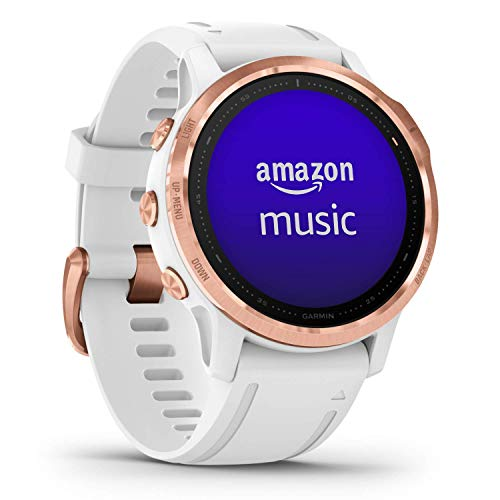 Garmin fēnix 6S Pro, Ultimate Multisport GPS Watch, Smaller-Sized, Features Mapping, Music, Grade-Adjusted Pace Monitoring and Pulse Ox Sensors, Rose Gold with White Band