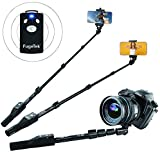 Fugetek 49' Selfie Stick Monopod Professional High End FT-568, For Apple iPhone, Android Samsung, & DLSR Cameras, Aluminum Alloy, Rechargeable Wireless Bluetooth Remote (Black)