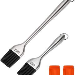 Rwm Basting Brush - Grilling BBQ Baking, Pastry, and Oil Stainless Steel Brushes with Back up Silicone Brush Heads(Orange) for Kitchen Cooking & Marinating, Dishwasher Safe