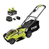 RYOBI 16 in. One+ 18-Volt Lithium-Ion Hybrid Walk Behind Push Lawn Mower Kit - with Batteries & Charger – P1121